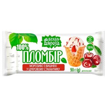 Морозиво Белая Бяроза вишня цукровий стакан 90г - купити, ціни на CітіМаркет - фото 2