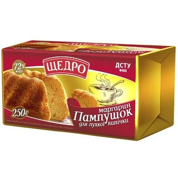 Schedro Pampushok For Magnificent Bakery Margarine 72% 250g - buy, prices for CityMarket - photo 1