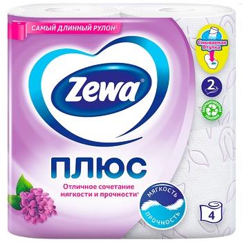 Туалетная бумага Zewa Плюс аромат сирени двухслойная 4шт - купить, цены на УльтраМаркет - фото 2
