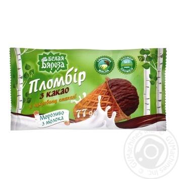 Мороженое Белая бяроза пломбир шоколадный в сахарном стаканчике 70г - купить, цены на Фуршет - фото 3