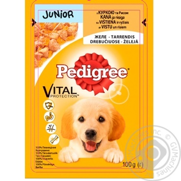 Pedigree for puppies in jelly with rice and chicken food 100g - buy, prices for Metro - image 1