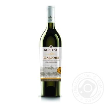 Вино біле Коблево Селект Шардоне виноградне ординарне столове сортове сухе 13% скляна пляшка 750мл Україна