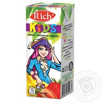 Скидка на Нектар Rich Kids банан-клубника-яблоко 200мл