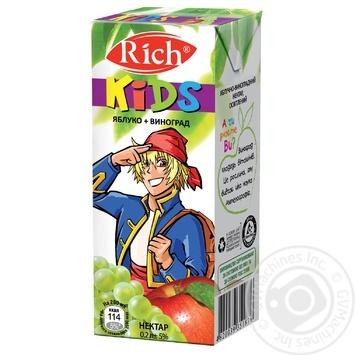 Скидка на Нектар Rich Kids яблоко-виноград 200мл