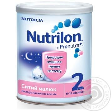 Суміш молочна Нутриція Нутрилон 2 Ситий малюк суха для дітей з 6 до 12 місяців залізна банка 400г Нідерланди