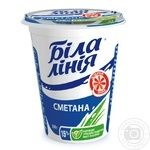Сметана Біла лінія 15% пластиковий стакан 350г Україна