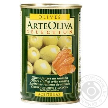 Оливки зелені Arte Oliva з лососем 300г - купити, ціни на Novus - фото 1