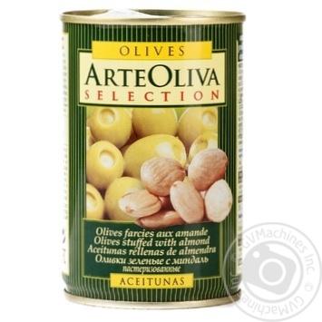 Оливки зеленые Arte Oliva с миндалем 300г - купить, цены на Novus - фото 1
