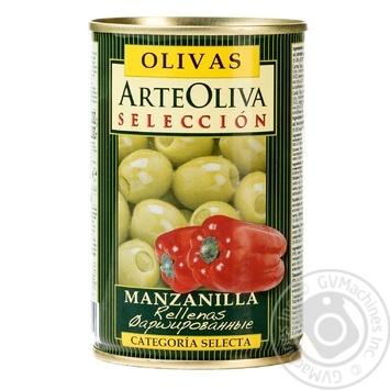 Оливки Arte Oliva фаршировані Перець червоний 300г - купить, цены на Novus - фото 1
