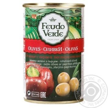 Оливки з перцем консервовані пастеризовані Feudo Verde 300г - купить, цены на Novus - фото 1