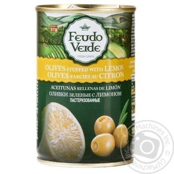 Оливки зеленые Feudo Verde с лимоном 300г - купить, цены на Novus - фото 1