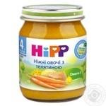 Пюре ХиПП Нежные овощи с телятиной для детей с 4 месяцев стеклянная банка 125г Венгрия
