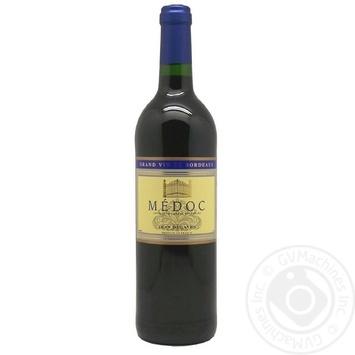 Вино красное Жан Дегав Медок натуральное виноградное сухое стеклянная бутылка 750мл Франция