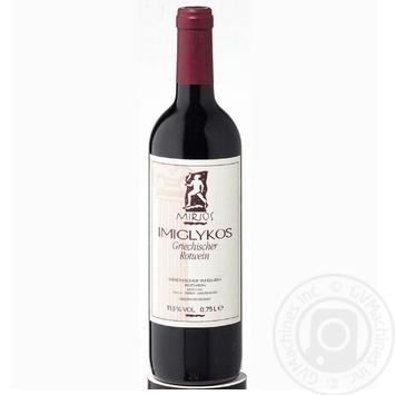 Вино червоне Міріос Іміглікос виноградне натуральне напівсолодке 11% скляна пляшка 750мл Греція