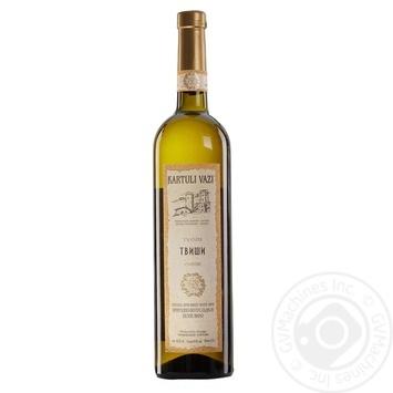 Вино белое Картули Вази Твиши натуральное виноградное высококачественное природно-полусладкое 10.5% 750мл