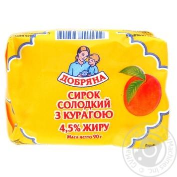 """СИРОК ТМ""""ДОБРЯНА"""" СОЛОДКИЙ З КУРАГОЮ 4,5% 90Г"""