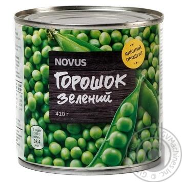 Горошок зелений Novus консервований з/б 410г - купити, ціни на Novus - фото 1