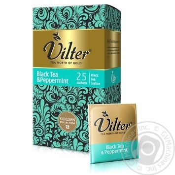 Чай черный цейлонский байховый с мятой VILTER в пакетиках 25х2г