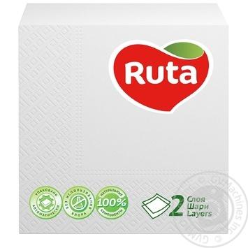 Салфетки Ruta Double Luxe белые бумажные 2-слойные 24*24см 40шт