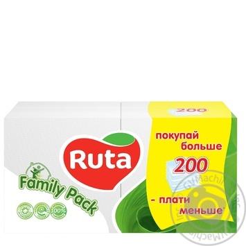 Салфетки Ruta Duo белые бумажные 1-слойные 24*24см 200шт - купить, цены на Novus - фото 1
