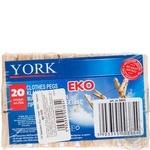 Прищіпки York дерев'яні 72мм 20шт - купити, ціни на Фуршет - фото 1