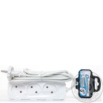 Подовжувач електричний Electraline білий без заземлення 3 гнізда 3м