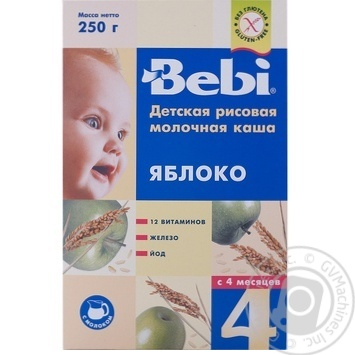 Каша детская Беби Яблоко рисовая молочная сухая быстрорастворимая 7-8 порций с 4 месяцев 250г