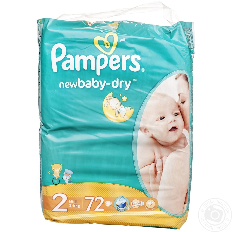 be982b497843 Пiдгузники дитячі Pampers New Baby-Dry 2 Mini 3-6кг 72шт → Дитяче ...