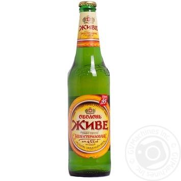 Пиво Оболонь Живое светлое 4.5%об. стеклянная бутылка 500мл Украина
