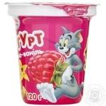 Йогурт Галичина Том и Джерри малина-ваниль 2.5% 120г пластиковый стакан Украина