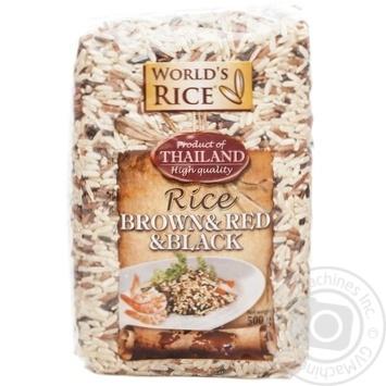 Рис World`s Rice  Brown+Red+Black нешлифованный 500г