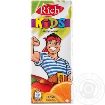 Скидка на Нектар Rich Kids из смеси фруктов мультифрут 200мл