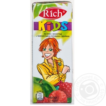 Скидка на Нектар Rich Kids яблоко-виноград-черноплодная рябина-малина 200мл