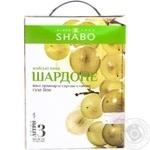 Вино белое Шабо Шардоне натуральное виноградное ординарное столовое сортовое сухое 13% тетрапакет 3000мл Украина