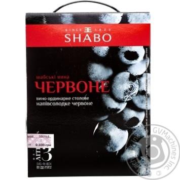 Вино Shabo красное полусладкое 12% 3л