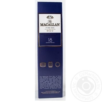 Whiskey Macallan 43% 18yrs 700ml glass bottle Scotland England