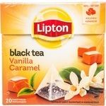 Черный чай Липтон Карамель Ваниль байховый ароматизированный в пакетиках 20х1.7г Россия