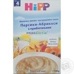 Каша Hipp молочна рисово-кукурудзяна з персиком та абрикосом для дітей  з 4 місяців 250г
