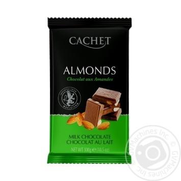 Шоколад молочный Cachet с миндалем 300г