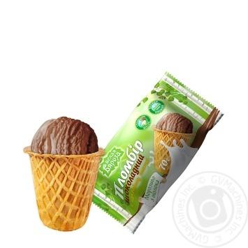 Мороженое Белая бяроза пломбир шоколадный в сахарном стаканчике 70г - купить, цены на Фуршет - фото 1