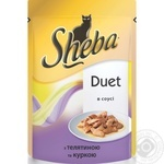 Корм для котів Пауч Sheba телятина курча 28*85г