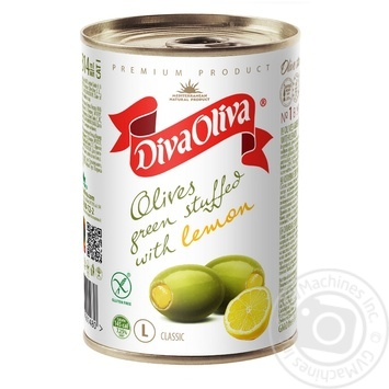 Оливки Diva Oliva зеленые с лимоном 300г