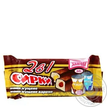 Cottage cheese Zlagoda 2in1 with boiled condensed milk 30g+condensed milk 30g in chocolate glaze 15% Ukraine - buy, prices for Furshet - image 1
