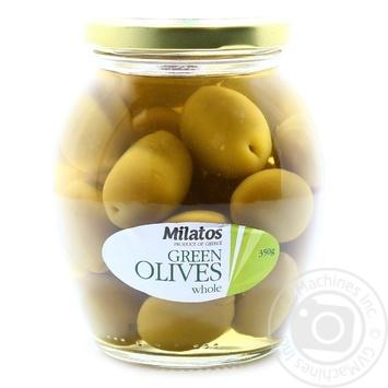 Оливки Milatos зеленые с косточкой 350г
