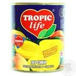 Fruit peach Tropic life half 850ml can