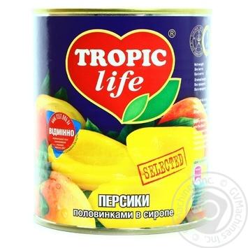 Персик Tropic life половинки в сиропі 850мл - купити, ціни на Novus - фото 1