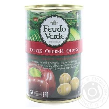 Оливки з перцем консервовані пастеризовані Feudo Verde 300г - купить, цены на Novus - фото 2