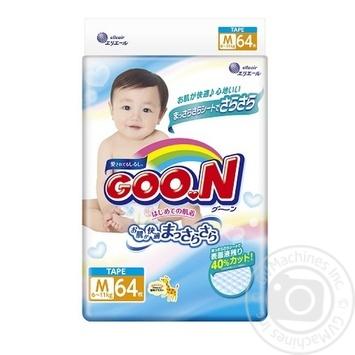Подгузники GOO.N для детей 6-11кг размер M на липучках унисекс 64шт - купить, цены на Novus - фото 1