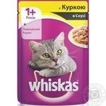 Корм для взрослых котов Whiskas с курицей в соусе 100г