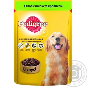 Корм Pedigree С говядиной и кроликом в соусе для взрослых собак 100г